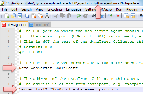 My dtwsagent.ini file on the SharePoint Server. I made sure that the server name is fully qualified and can be reached from that machine in port 9998