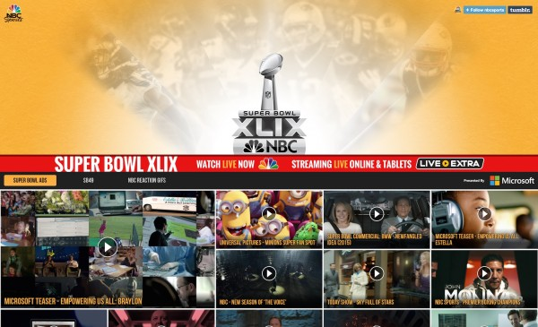 Super Bowl NFL NBC Tumblr Page