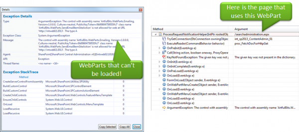 When a Web Part is not correctly deployed SharePoint will throw Exceptions like the one above. End Users will only see a blank area