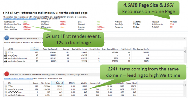 Basic WPO Violations: Too many resources severed from a single domain lead to bad page load times