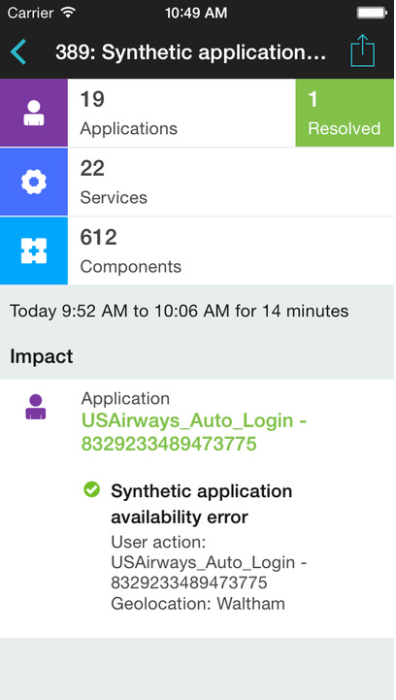 Dynatrace mobile app