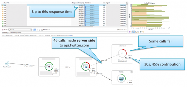 PurePath also highlights another common problem patterns: Excessive Calls to External Service APIs such as Twitter