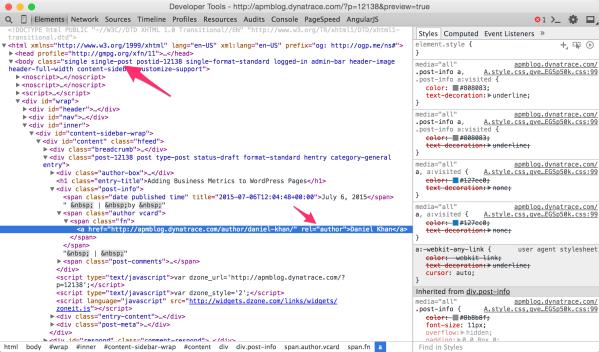 Chrome developer tools source view