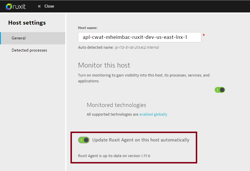 Ruxit agent updates settings