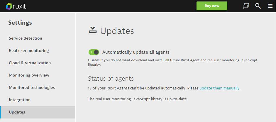 Dynatrace agent updates settings