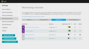 Link to application monitoring settings