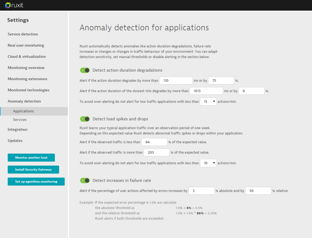 Anomaly detection settings 2