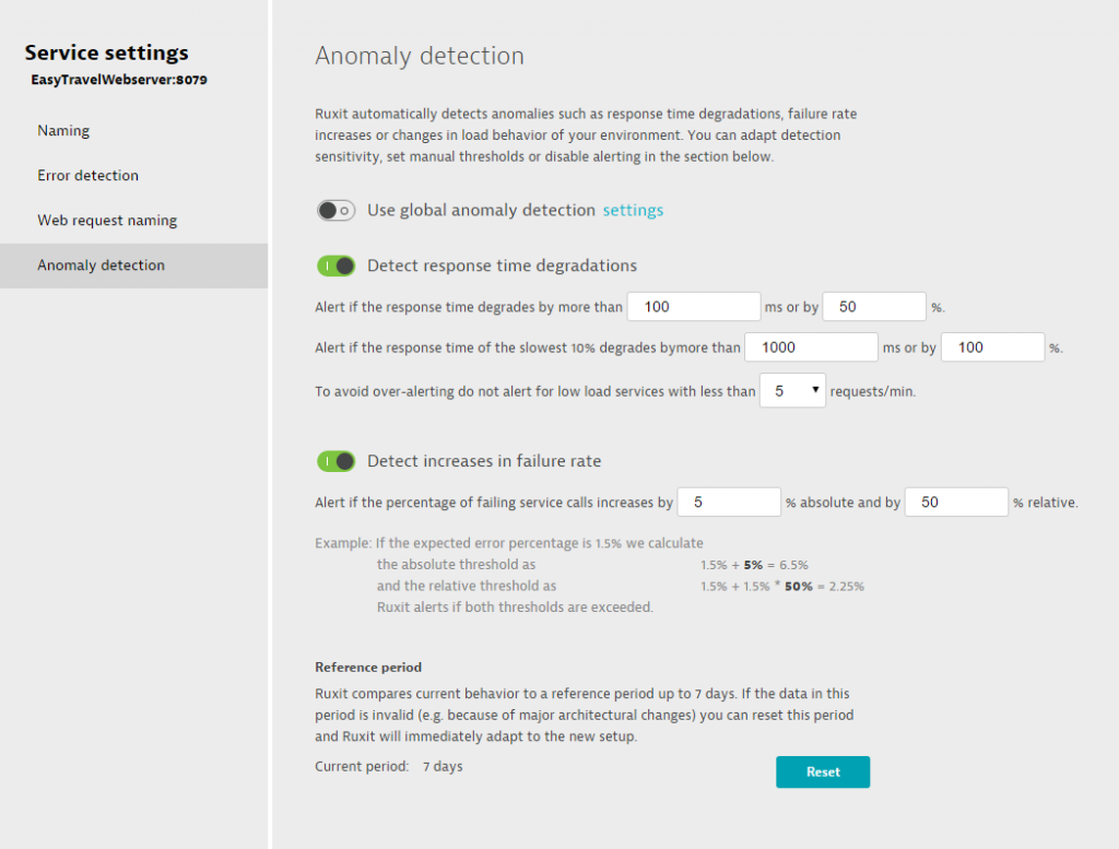Anomaly detection settings 5
