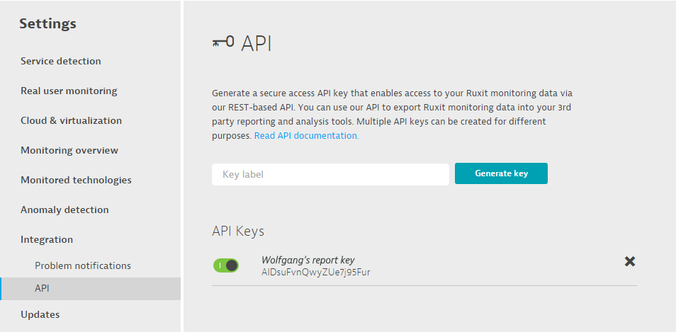 Dynatrace API access key