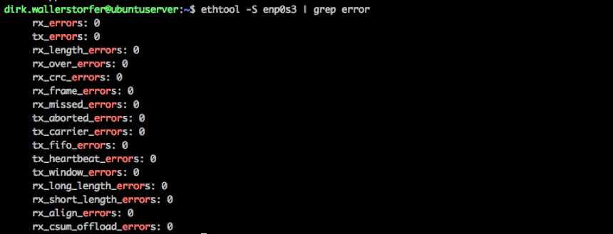 ethtool output