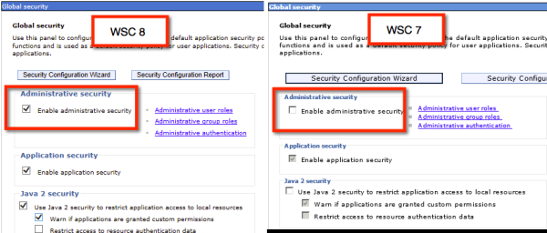 Fig 5. WAS console global security settings