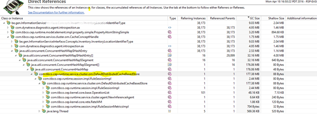 Dynatrace allows us to walk the reference tree to find out who is holding references to our be.gen.xxx classes