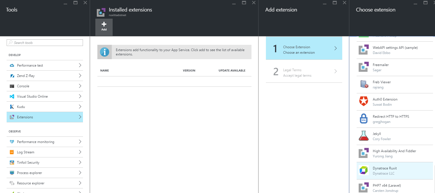 Azure web apps portal