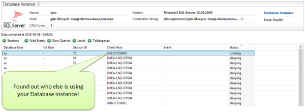 Dynatrace Database Agent shows you who else is connected to the Database – and potentially sending inefficient queries to the database