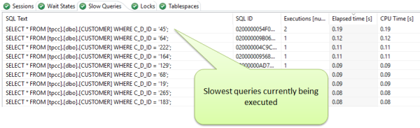 With the Database Agent you can also see in the real-time which SQL queries are being executed