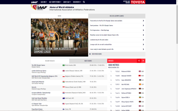 Figure 4: IAAF.org website