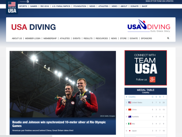Figure 5: USA Diving website - http://www.teamusa.org/USA-Diving