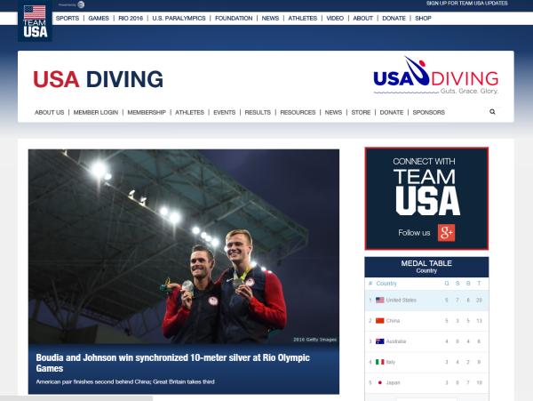 Figure 5: USA Diving website - http://www.teamusa.org/USA-Diving