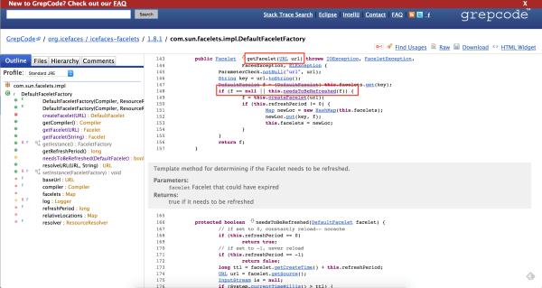 Code snippet of com.sun.facelets.impl.DefaultFaceletFactory class.