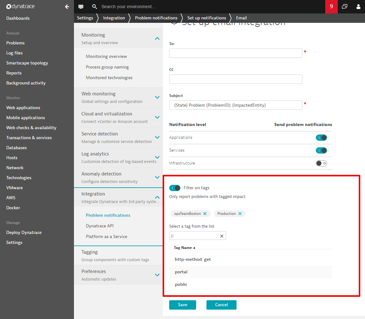 Filter Dynatrace problem notifications by using tags