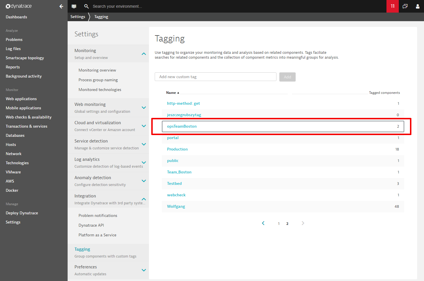 Select a Dynatrace tag