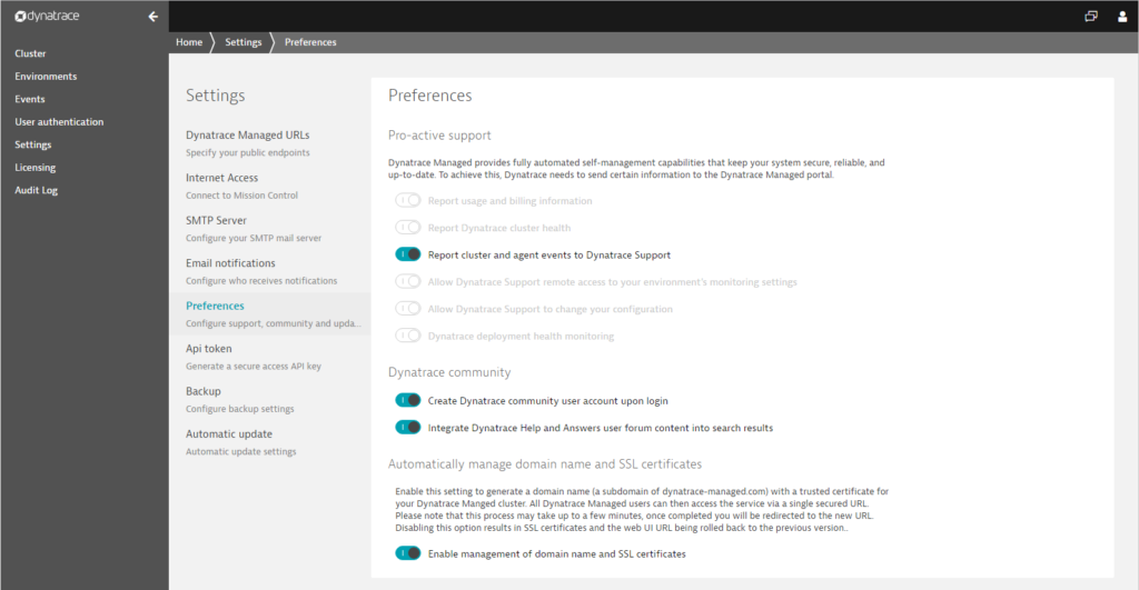 Dynatrace Managed certificate management