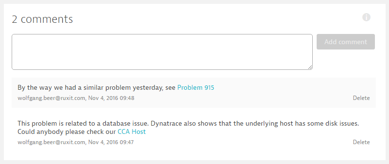 Dynatrace problem comments feed