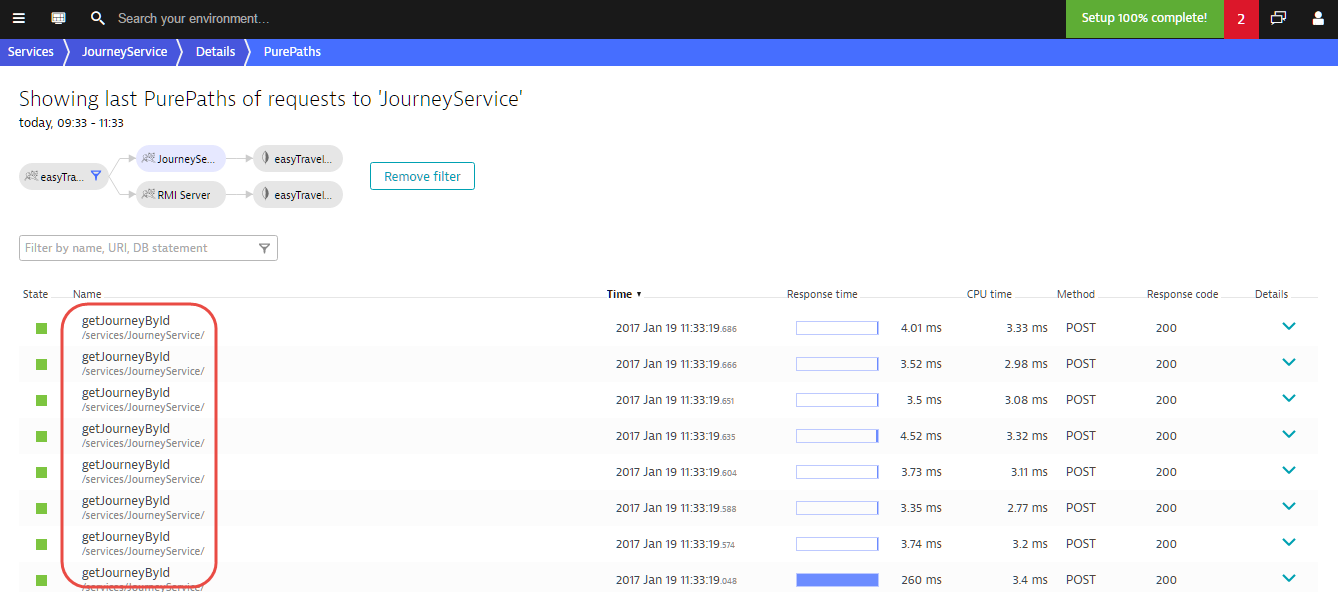Service flow filtering