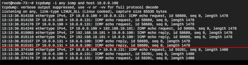 Tcpdump of ping with payload size 1470 and 1472 (+ 8 bytes ICMP header, yields lengths 1478 and 1480)