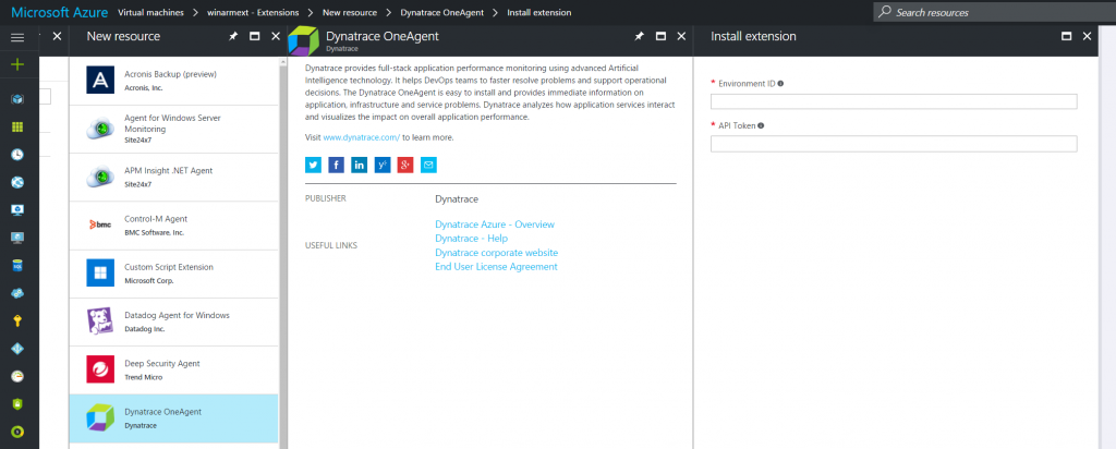 Dynatrace OneAgent install extension