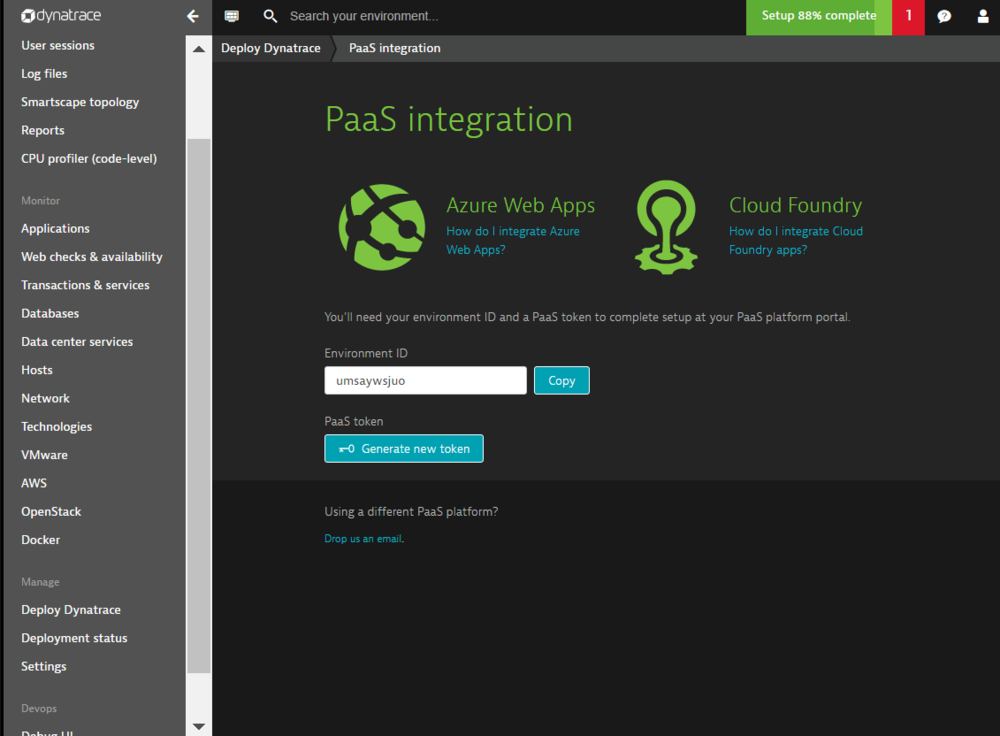 PaaS integration sceenshot