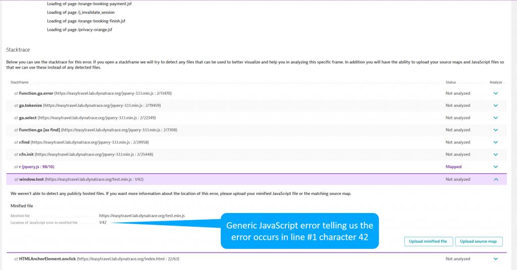 Generic JavaScript error telling us the error occurs in line #1 character 42