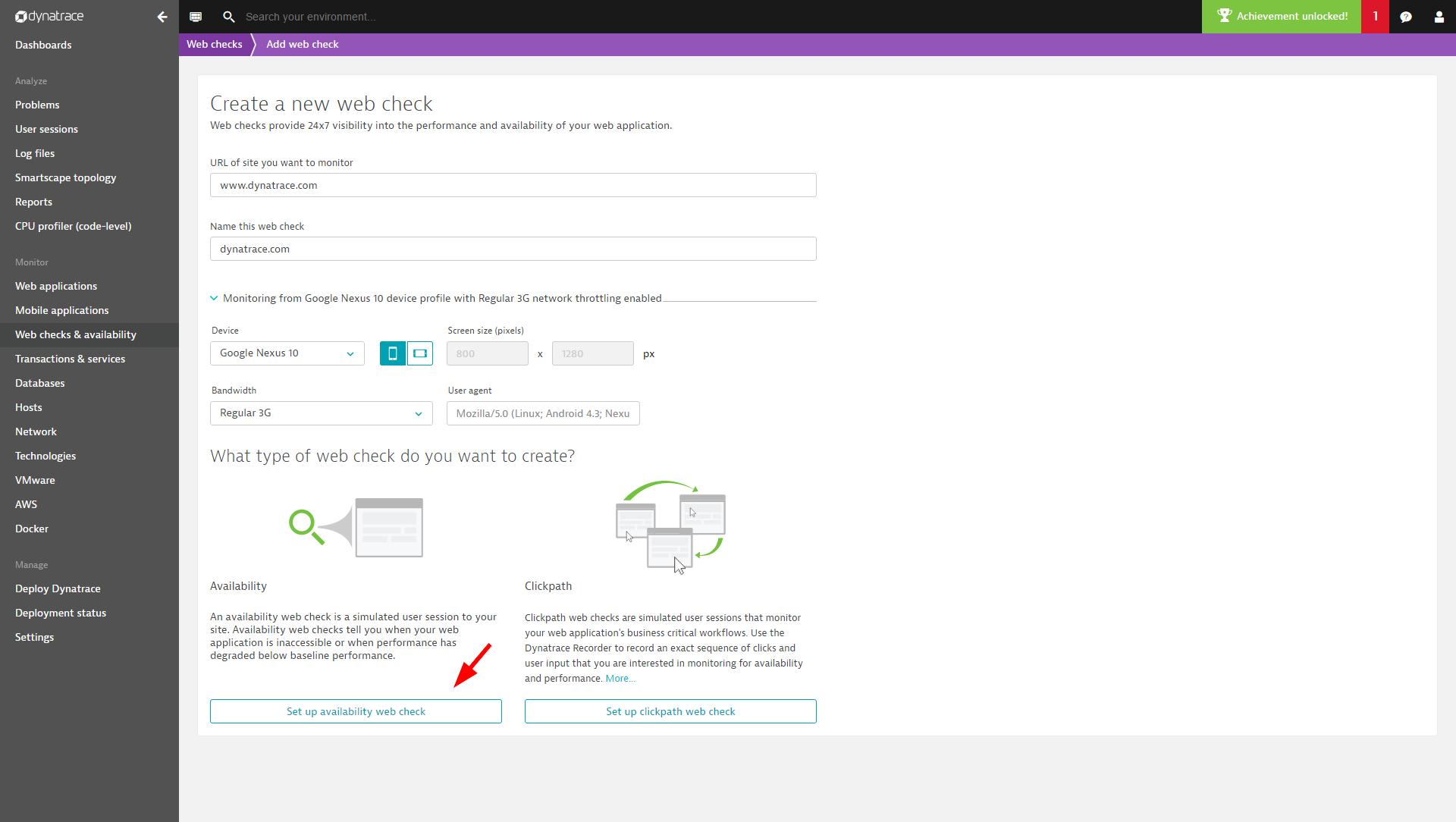 Create availiblity web check