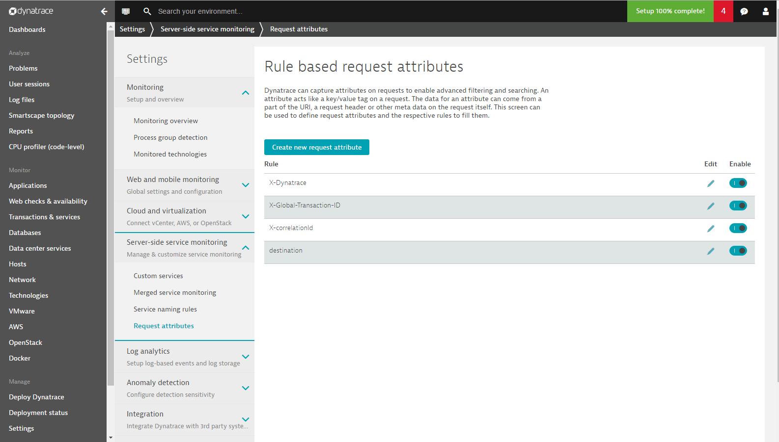 Screenshot Dynatrace Create new request attribute