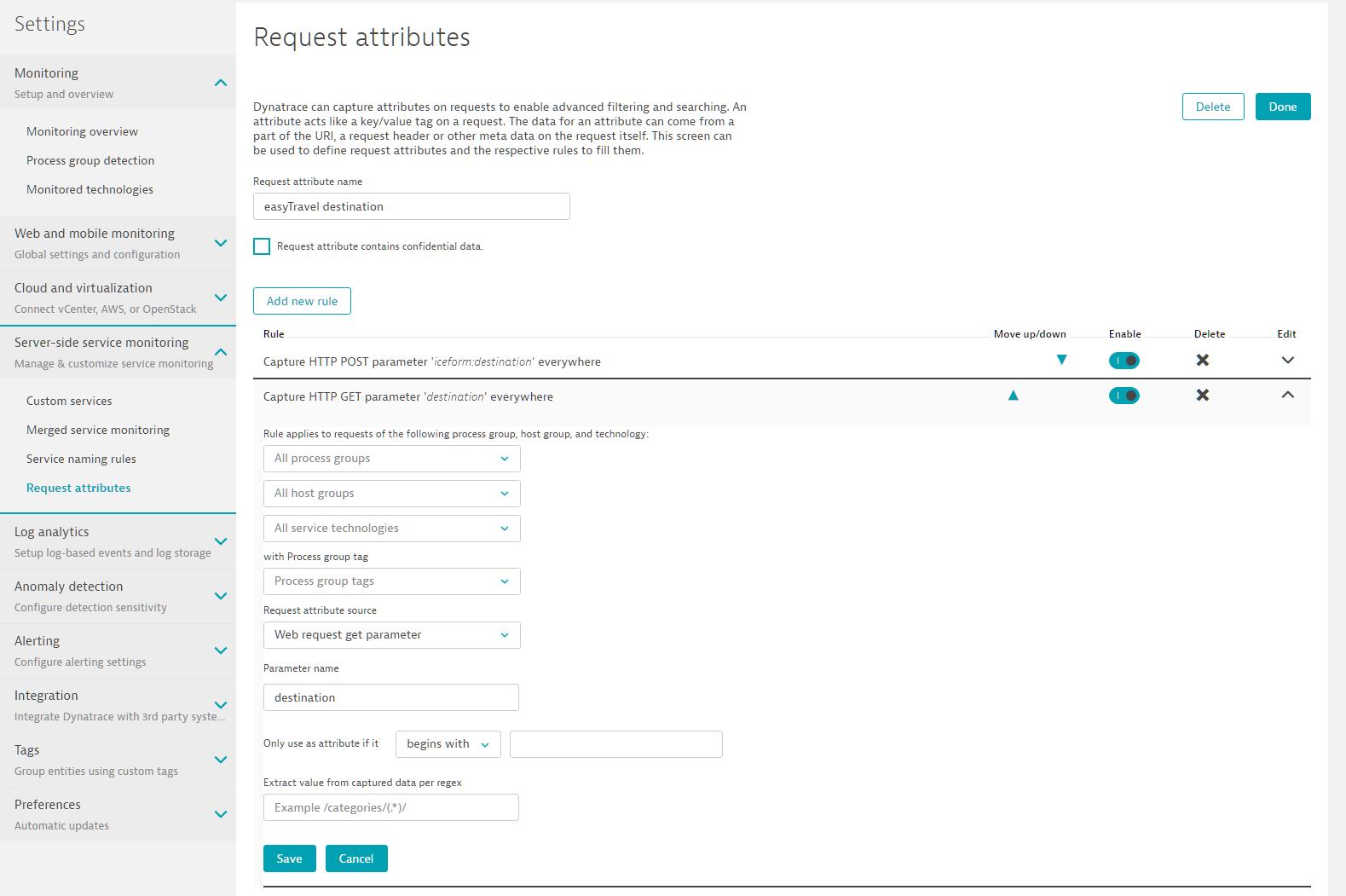 Screenshot Dynatrace Request attributes