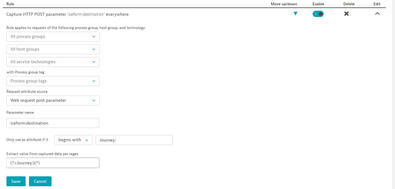Screenshot Dynatrace Request attributes rules