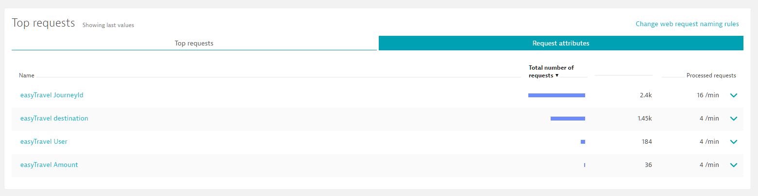 Screenshot Dynatrace Top requests