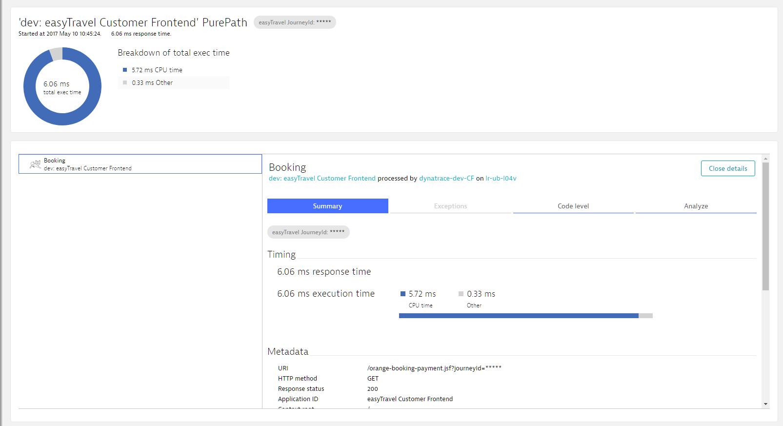 Screenshot Dynatrace PurePath