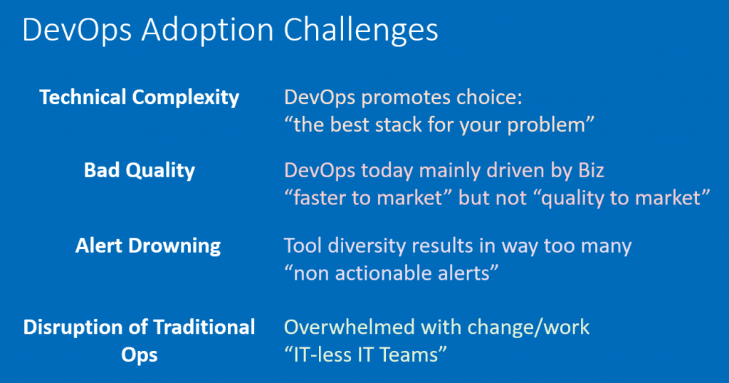 Faster-to-market vs. quality-to-market can be a key challenge when adopting Business Driven DevOps