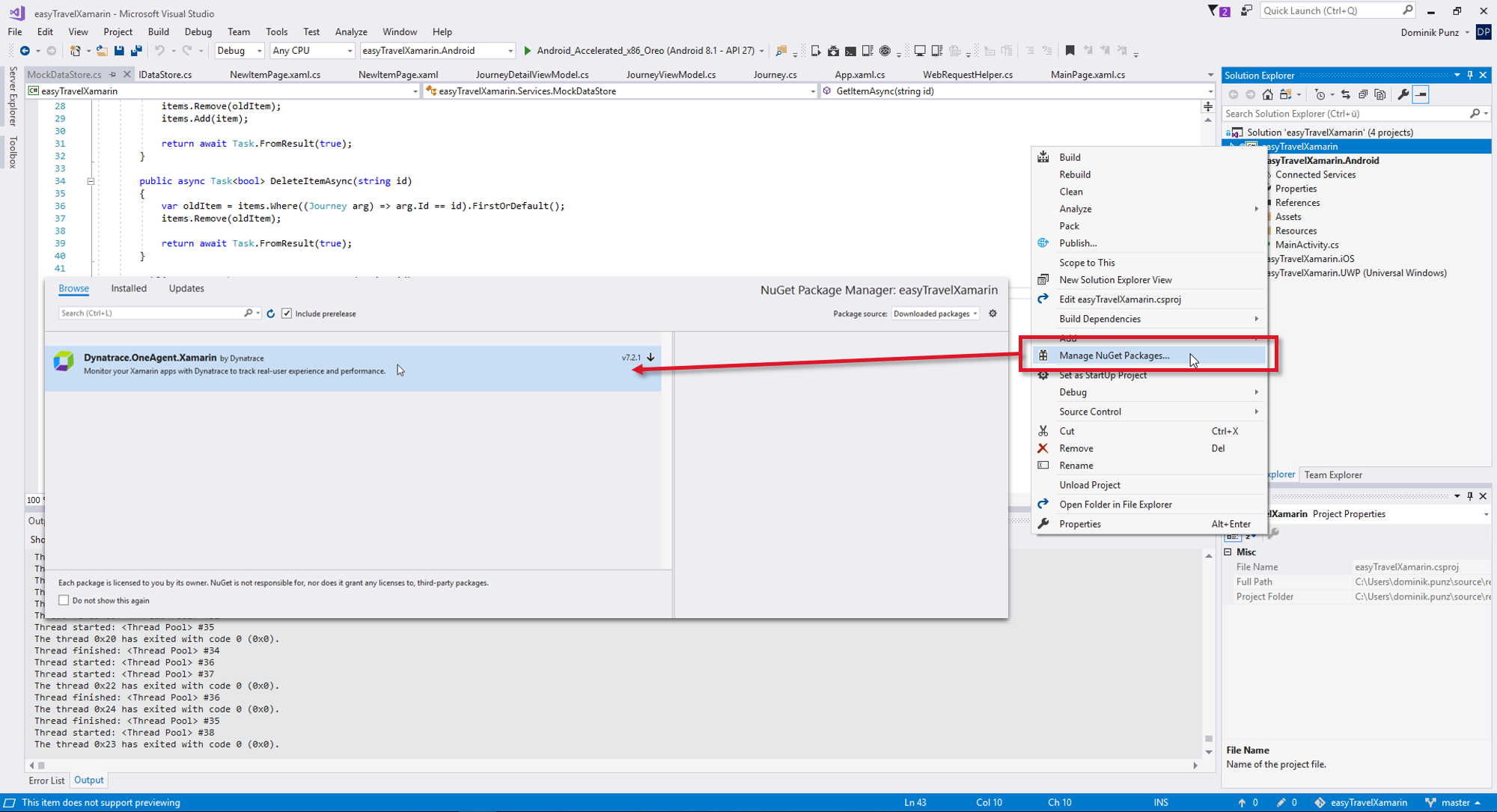 Instrument your Xamarin app in Visual Studio with the Dynatrace NuGet package