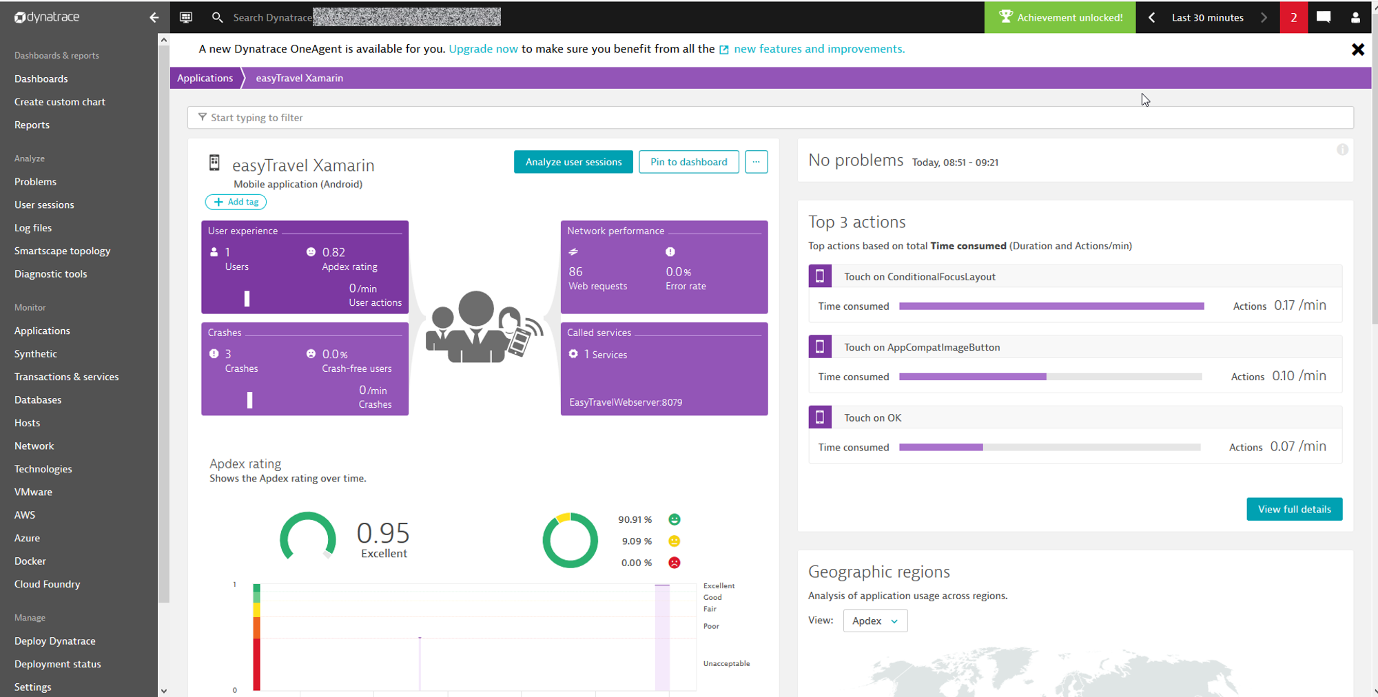Xamarin app overview in Dynatrace