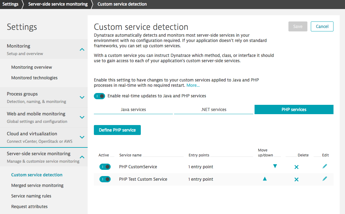 Set up custom service detection for PHP