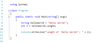 "A simple C# console app, printing the length of the string ""Hello World!"" to console."