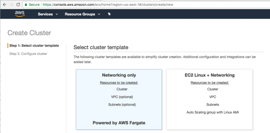 Amazon ECS Cluster with Networking only option