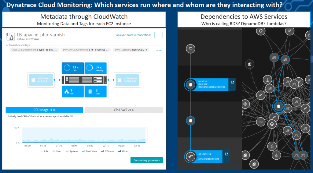 Dynatrace tells you on which virtual machines or in which containers your code runs. It also tells you which paid cloud services are used by which of your applications and services.
