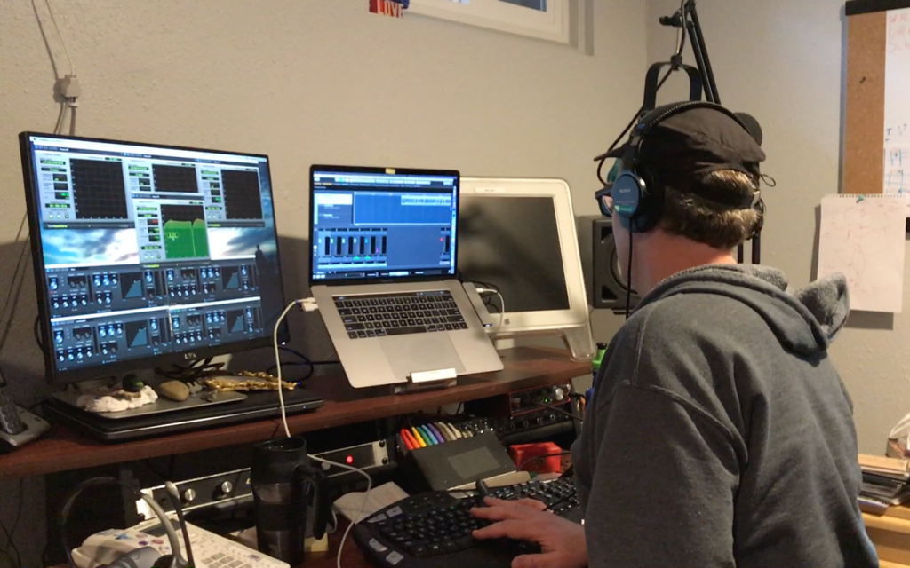 Behind the scenes: Brian editing an episode in his home office studio.