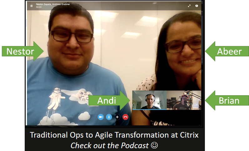Screenshot from our Skype session while recording with Nestor and Abeer from Citrix