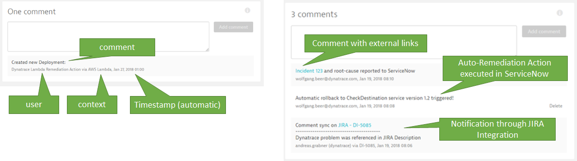 Different examples showing problem ticket comments from different custom and out-of-the-box integrations