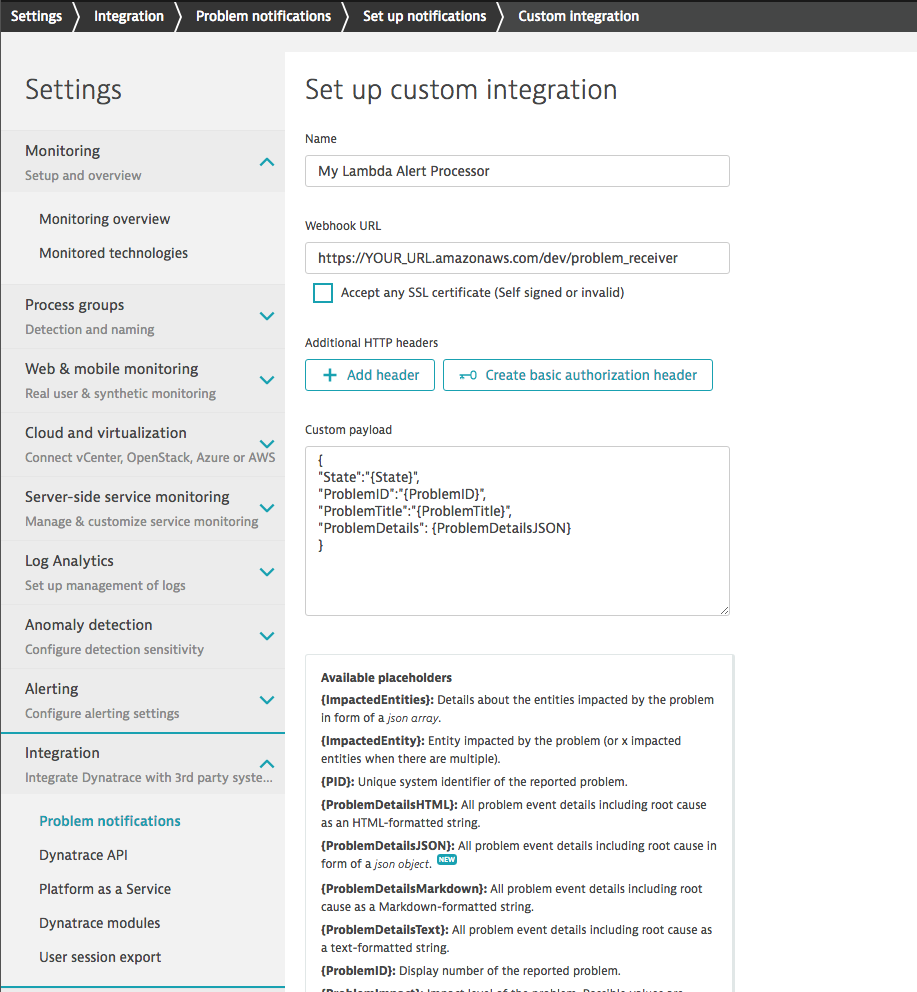 using a dedicated Lambda function to filter and distribute problem notifications from Dynatrace to third-party services