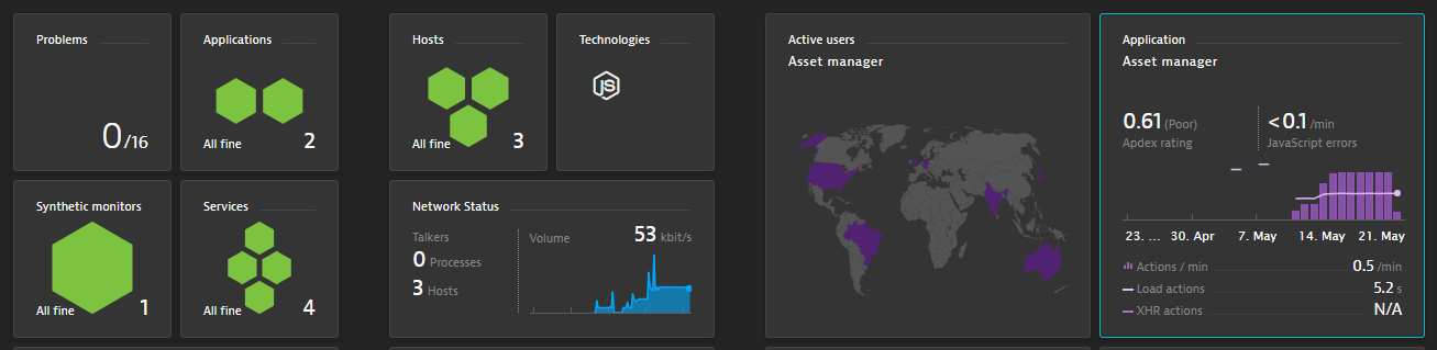 Standard Dynatrace dashboard showing all important health and end user experience data!